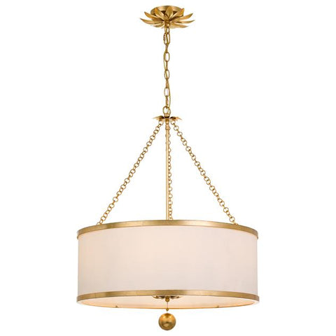 Crystorama Broche 6 Light Antique Gold Chandelier