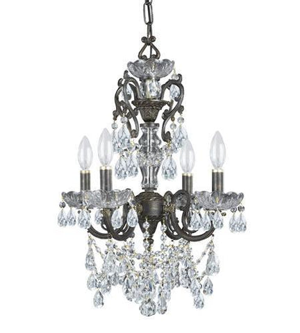 Crystorama 5194-EB-CL-I Legacy 4 Light Italian Crystal Bronze Mini Chandelier - PeazzLighting