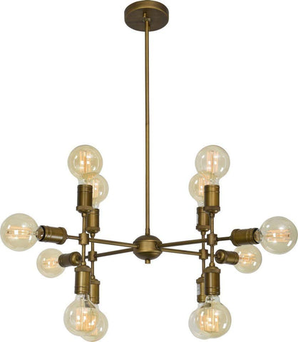 Renwil New Traditional Caprica 12 Light Pendant in Antique Brass