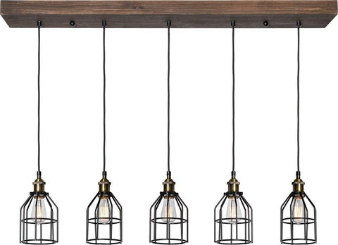 Renwil New Traditional Roseneath 5 Light Island Pendant in Natural