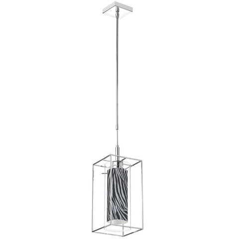 Dainolite CBE-61P-PC-696 1LT Pendant, Rect Metal Frame w/ Clear Glass