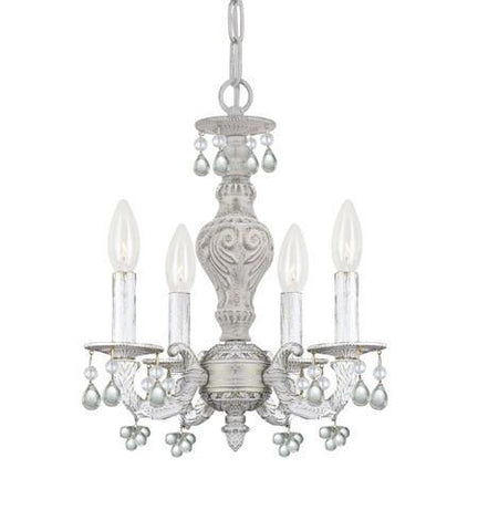 Crystorama 5224-AW-CLEAR Paris Market 4 Light Clear Crystal White Mini Chandelier - PeazzLighting