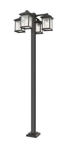 Z-Lite 531-4-536P-ORB Portland Collection 4 Light Outdoor Post Mounted Fixture Oil Rubbed Bronze Finish