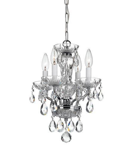 Crystorama 5534-CH-CL-MWP Traditional Crystal 4 Light Chrome Mini Chandelier - PeazzLighting