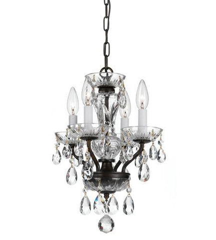 Crystorama 5534-EB-CL-MWP Traditional Crystal 4 Light Bronze Mini Chandelier - PeazzLighting