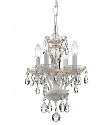 Crystorama 5534-WW-CL-I Traditional Italian Crystal 4 Light White Mini Chandelier - PeazzLighting