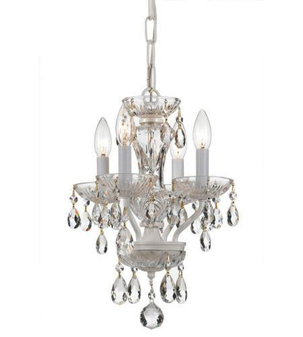 Crystorama 5534-WW-CL-MWP Traditional Crystal 4 Light White Mini Chandelier - PeazzLighting