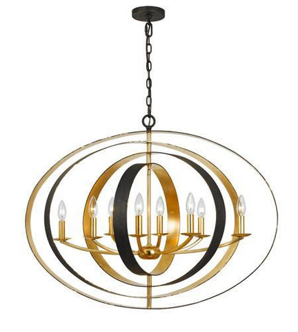 Crystorama 588-EB-GA Luna 8 Light Bronze & Gold Oval Chandelier - PeazzLighting