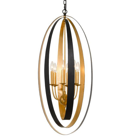 Crystorama Luna 6 Light English Bronze & Antique Gold Pendant