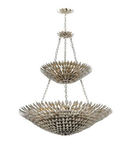 Crystorama 599-SA Broche 18 Light Antique Silver Leaf Pendant Chandelier - PeazzLighting