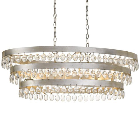 Crystorama Perla 6 Light Antique Silver Linear Chandelier