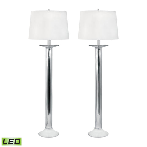 Lamp Works LAM-707/S2-LED Mercury Glass Collection Mercury Finish Table Lamp