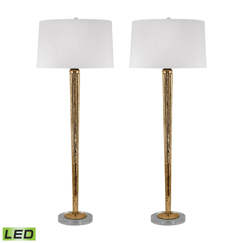 Lamp Works LAM-711/S2-LED Mercury Glass Collection Mercury Gold Finish Table Lamp