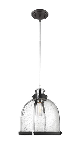 1-Light Pendant in Matte Black and Chrome Finish