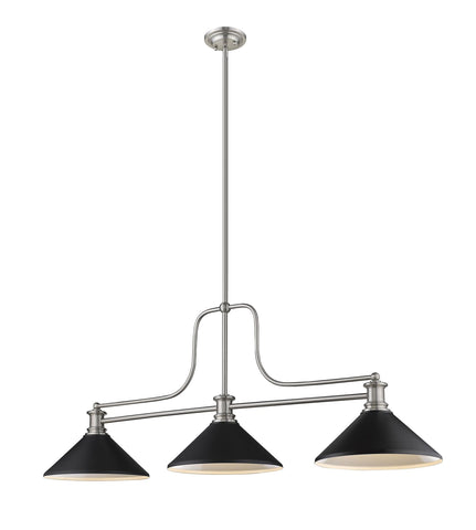 Z-Lite 725-3BN-MMB Melange Collection 3 Light Chandelier Brushed Nickel Finish