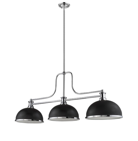 Z-Lite 725-3CH-D12MB+CH Melange Collection 3 Light Chandelier Chrome Finish