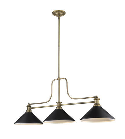 Z-Lite 725-3HBR-MMB Melange Collection 3 Light Chandelier Heritage Brass Finish