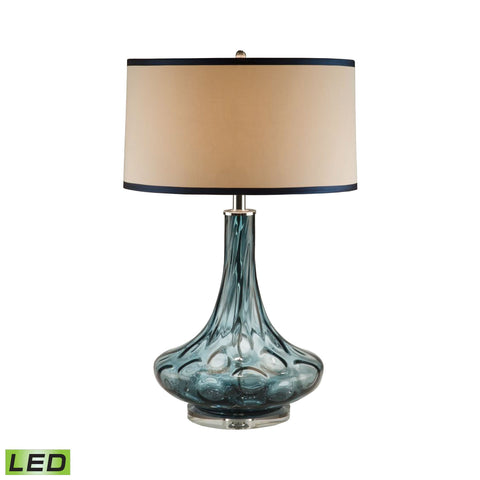 Lamp Works LAM-8011-LED Glass Collection Blue Finish Table Lamp