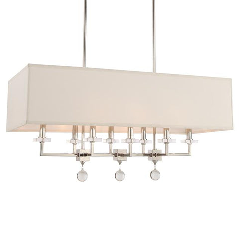 Crystorama Paxton 8 Light Polished Nickel Linear Chandelier