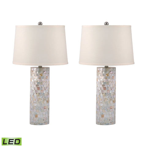 Lamp Works LAM-812/S2-LED Mother of Pearl Collection Mother of Pearl Finish Table Lamp