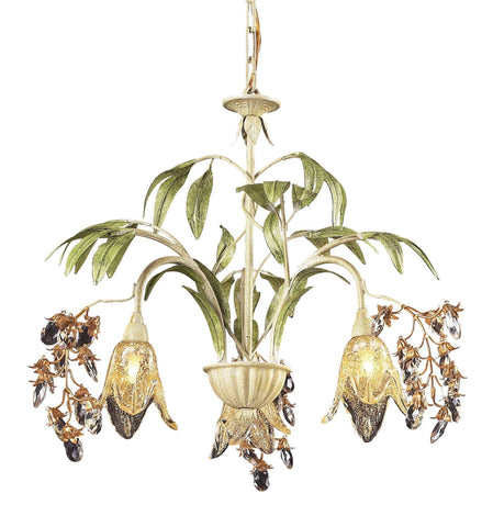 ELK Lighting Lighting 86052 Three Light Chandelier In Seashell And Amber Glass - PeazzLighting - 1