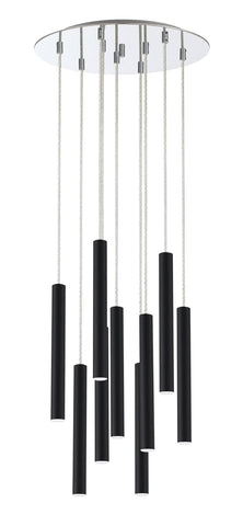 Z-Lite 917MP12-MB-LED-9RCH Forest Collection 9 Light Island/Billiard Matte Black Finish