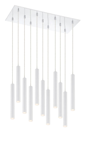 Z-Lite 917MP12-WH-LED-11LCH Forest Collection 11 Light Island/Billiard Matte White Finish