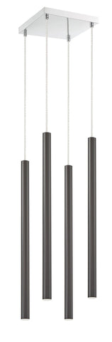 Z-Lite 917MP24-PBL-LED-4SCH Forest Collection 4 Light Island/Billiard Pearl Black Finish
