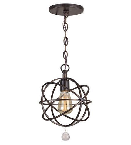 Crystorama 9220-EB Solaris 1 Light Bronze Pendant - PeazzLighting