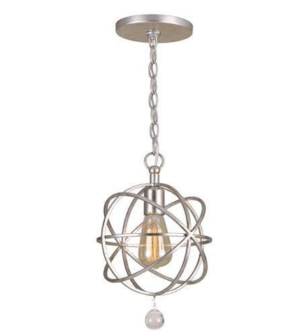 Crystorama 9220-OS Solaris 1 Light Silver Pendant - PeazzLighting
