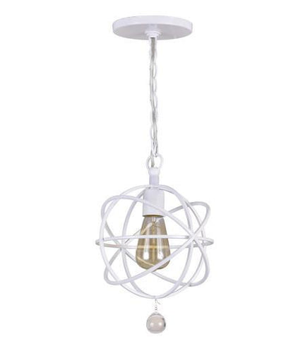 Crystorama 9220-WW Solaris 1 Light White Pendant - PeazzLighting