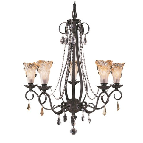 Framburg 9725-MB 5-Light Mahogany Bronze Liebestraum Dining Chandelier