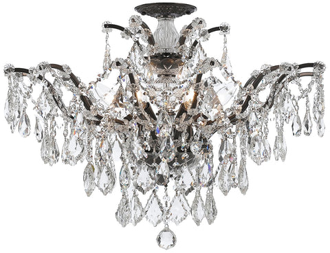 Crystorama 4459-VZ-CL-MWP_CEILING Filmore 6 Light Clear Hand Cut Bronze Semi-Flush