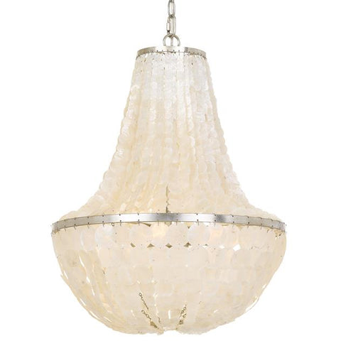 Crystorama Brielle 6 Light Antique Silver Chandelier