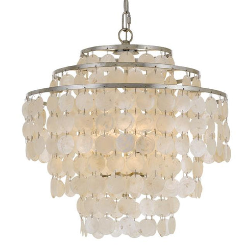 Crystorama Brielle 4 Light Antique Silver Chandelier