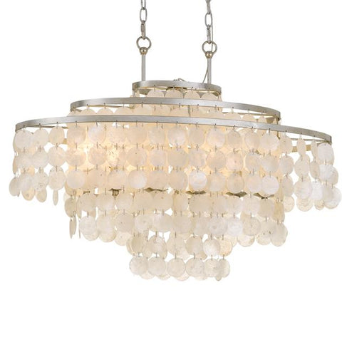 Crystorama Brielle 6 Light Antique Silver Linear Chandelier