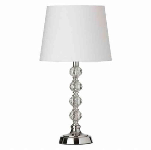 Dainolite C13T-PC 1LT Table Lamp Cut Crystal Ball w/Wht Shd