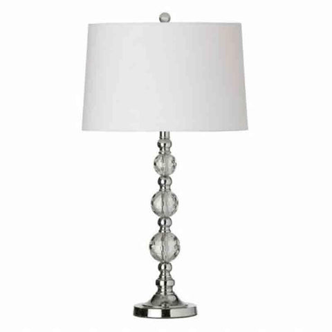 Dainolite C33T-PC 1LT Table Lamp Cut Crystal Ball w/wht Shd