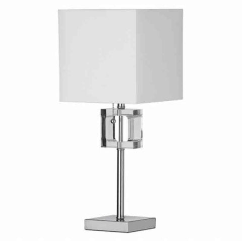 Dainolite C35T-PC 1LT Table Lamp Square Crystal Rep w/Wht Shd