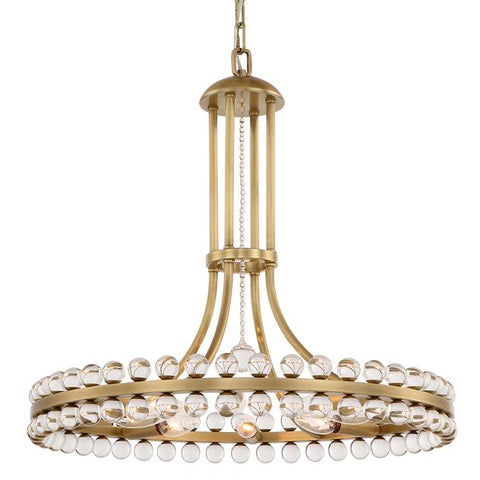 Crystorama Clover 8 Light Aged Brass Chandelier