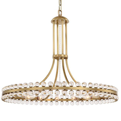 Crystorama Clover 12 Light Aged Brass Chandelier