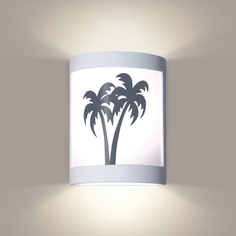 A19 F200B-WETST-CFL13-M10 Silhouette Collection Twin Palms Colonial Pewter Finish