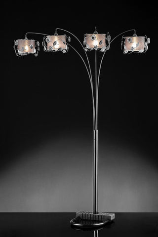 Ok Lighting OK-5121A Silver Crystal Arch Lamp - PeazzLighting