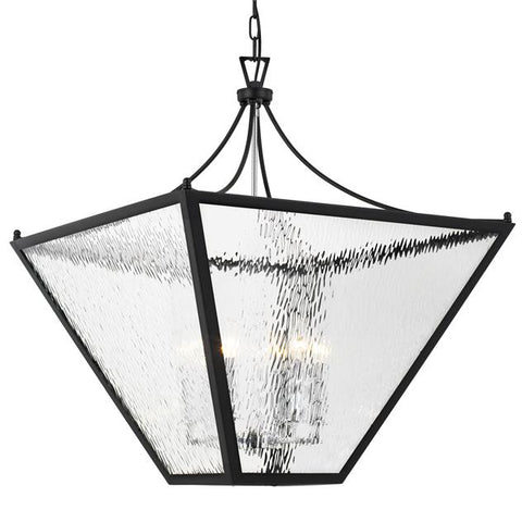 Crystorama Park Hill 6 Light Matte Black & Polished Chrome Large Lantern