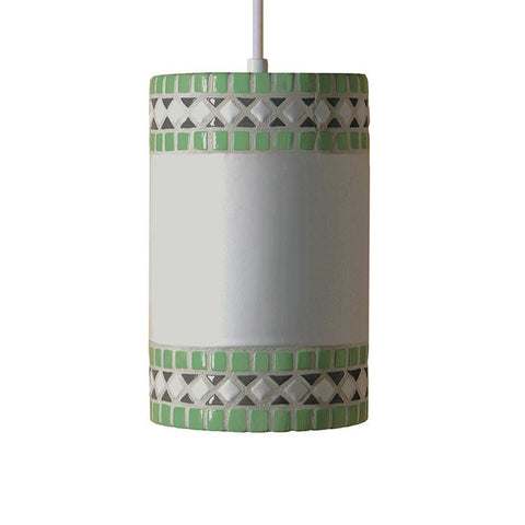 A19 PM20301-MI-CFL13-BCC Mosaic Collection Borders Mint Green Finish Pendant