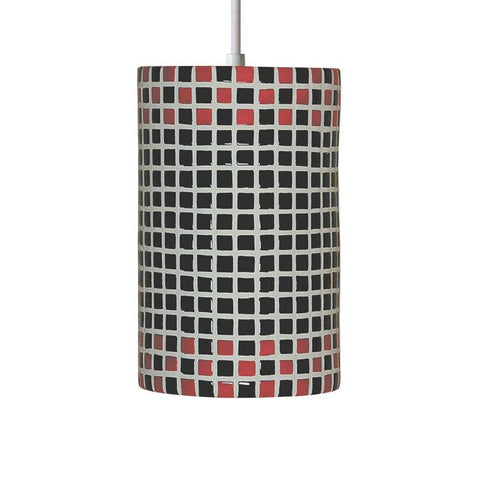 A19 PM20309-RB-CFL13-WCC Mosaic Collection Checkers Red and Black Finish Pendant