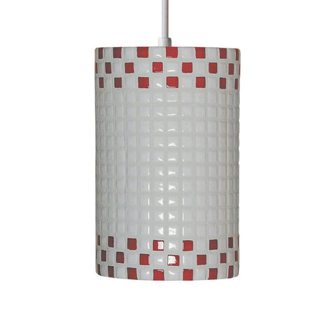 A19 PM20309-RW-CFL13-WCC Mosaic Collection Checkers Red and White Finish Pendant