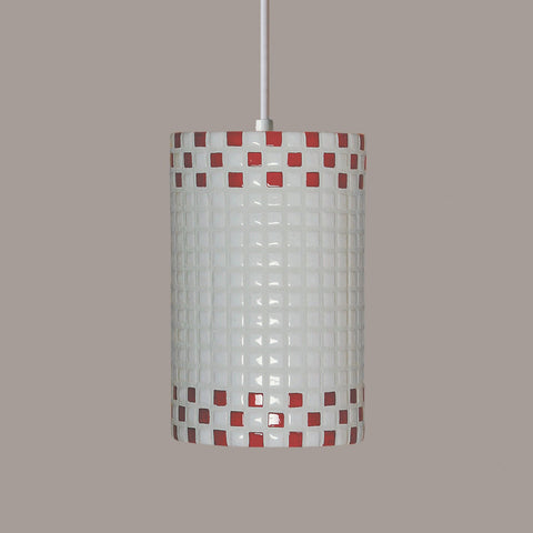 A19 PM20309-RW-CFL13-WCC Mosaic Collection Checkers Red and White Finish