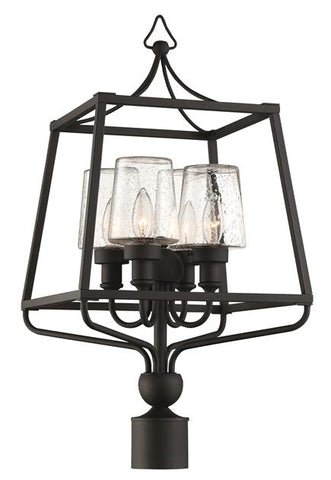 Libby Langdon for Crystorama Sylvan 4 Light Black Forged Large Post