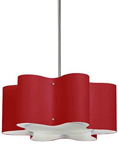 Dainolite ZUL-203-PC-RD 3LT Wave Drum Pendant w/RED Shd